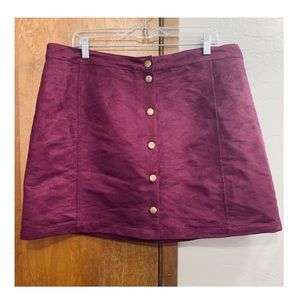Old Navy wine colored faux suede A line skirt